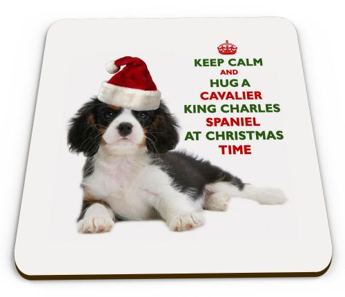 Christmas Keep Calm And Hug A Cavalier King Charles Spaniel (Tricolour) Novelty Glossy Mug Coaster